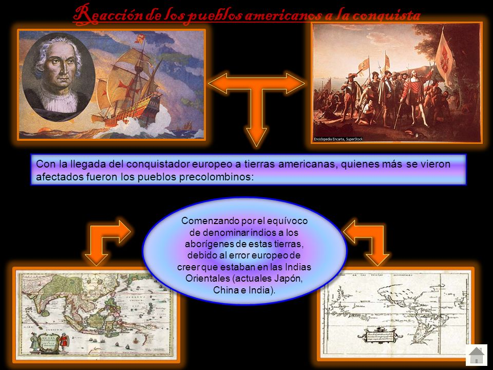Reacción de los pueblos americanos a la conquista Con la llegada del conquistador europeo a tierras americanas, quienes más se vieron afectados fueron