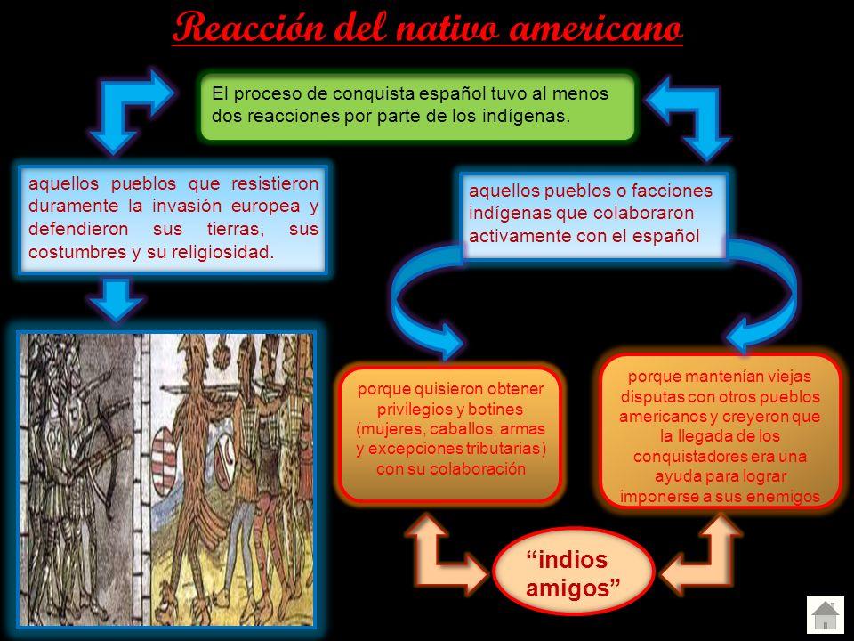 Reacción del nativo americano El proceso de conquista español tuvo al menos dos reacciones por parte de los indígenas. aquellos pueblos que resistiero