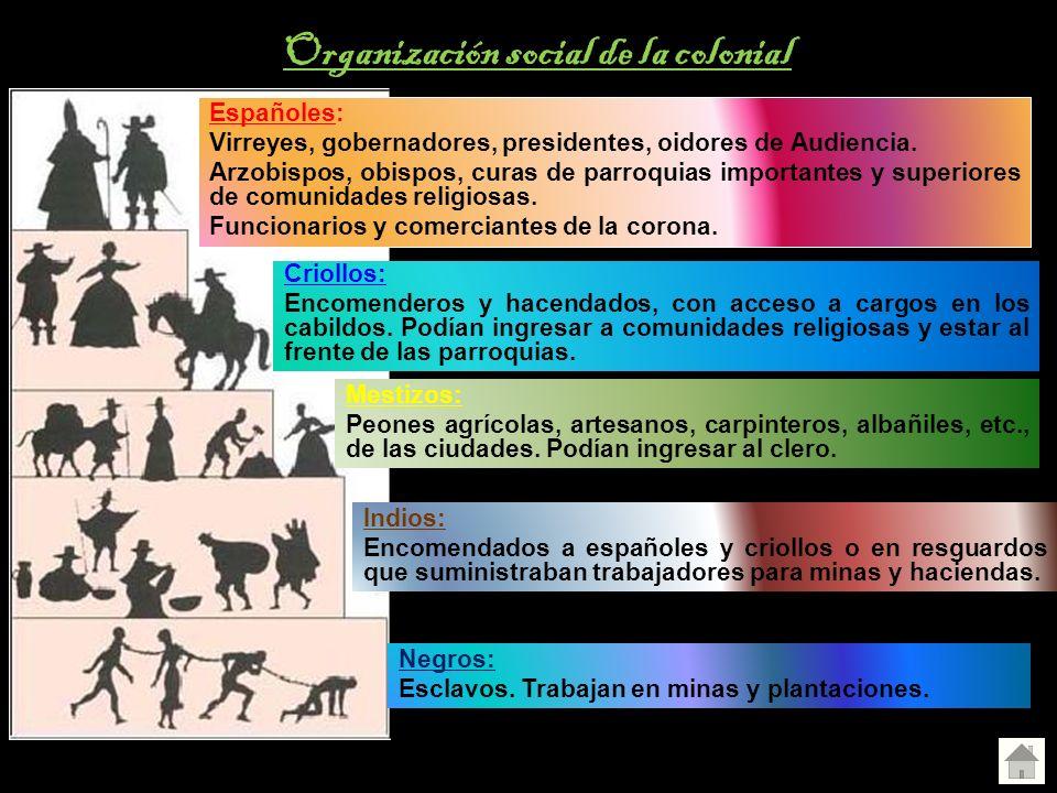Españoles: Virreyes, gobernadores, presidentes, oidores de Audiencia. Arzobispos, obispos, curas de parroquias importantes y superiores de comunidades