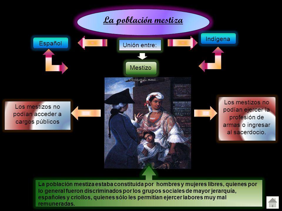 La población mestiza Unión entre: Indígena Español Mestizo Los mestizos no podían acceder a cargos públicos Los mestizos no podían ejercer la profesió