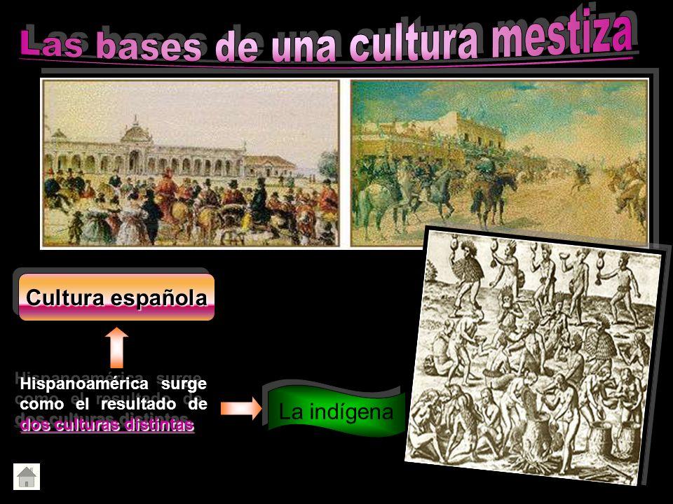 dos culturas distintas Hispanoamérica surge como el resultado de dos culturas distintas La indígena Cultura española