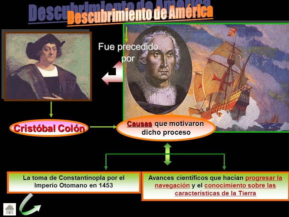 Cristóbal Colón La toma de Constantinopla por el Imperio Otomano en 1453 cerró a los europeos las rutas tradicionales hacia el Oriente. Avances cientí