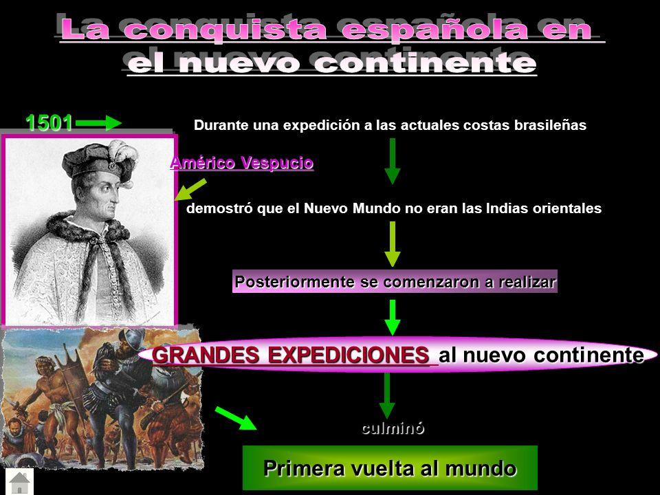 1501 Durante una expedición a las actuales costas brasileñas demostró que el Nuevo Mundo no eran las Indias orientales Posteriormente se comenzaron a
