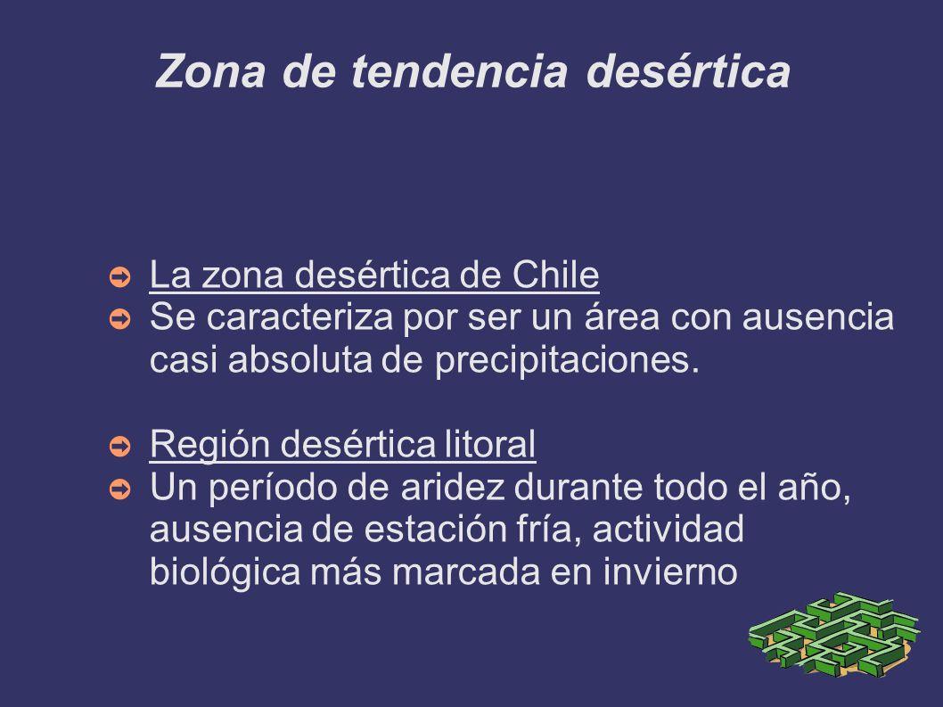 Zona de tendencia tropical Las áreas de influencia tropical se limitan en Chile a las regiones de altura y a una banda preandina frente a los desiertos interiores; la diferenciación bioclimática son las lluvias estivales constantes en la primera.