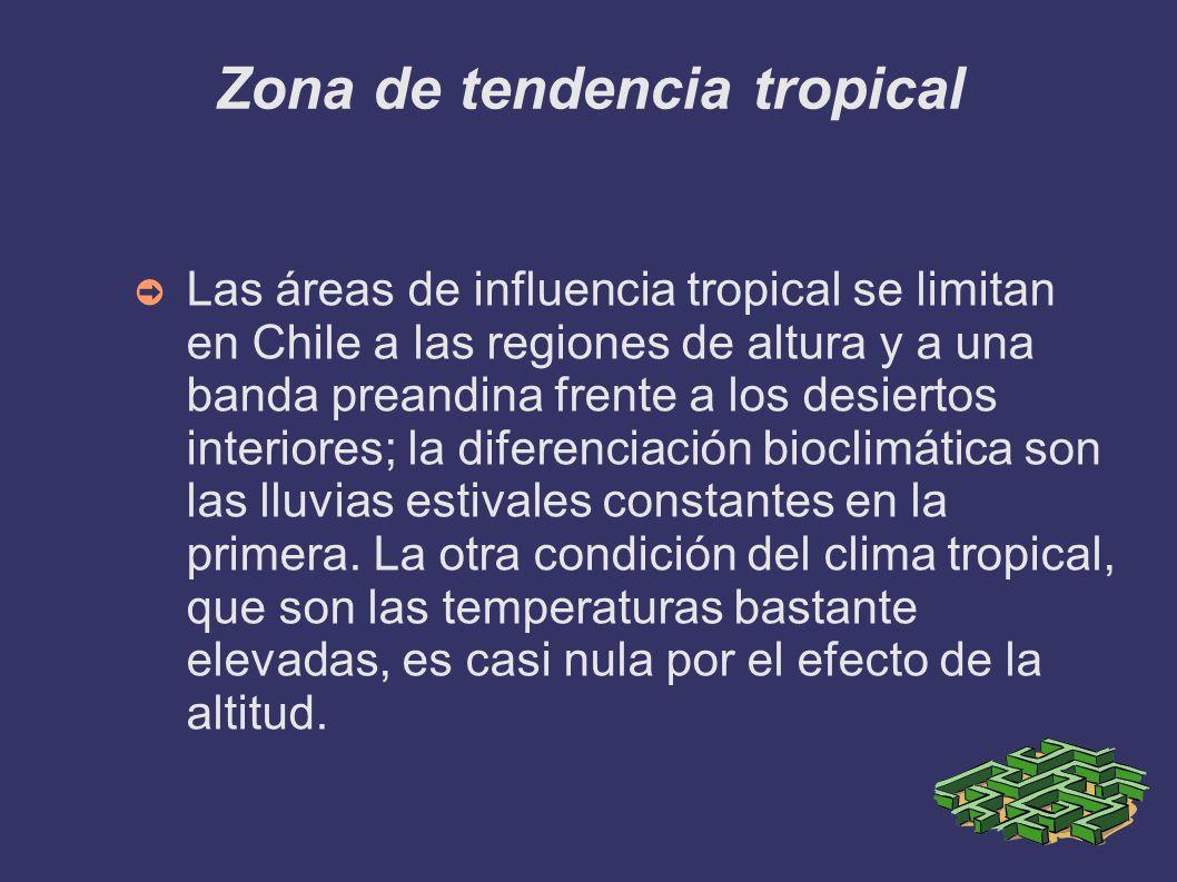 Zona de tendencia tropical Las áreas de influencia tropical se limitan en Chile a las regiones de altura y a una banda preandina frente a los desierto