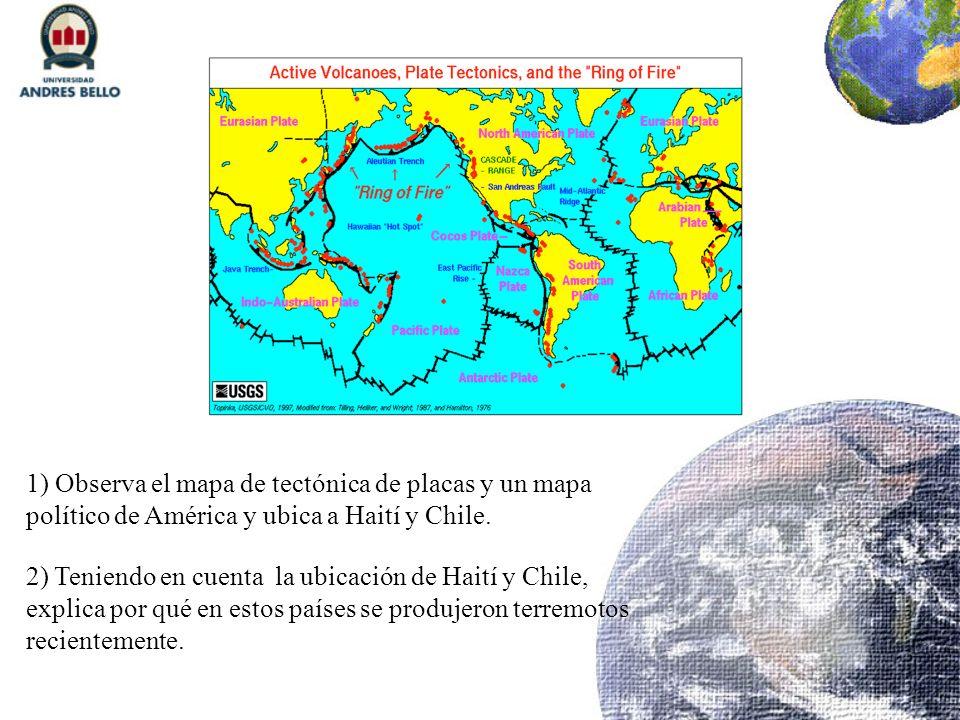 1) Observa el mapa de tectónica de placas y un mapa político de América y ubica a Haití y Chile. 2) Teniendo en cuenta la ubicación de Haití y Chile,