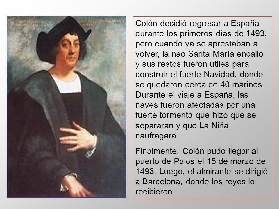 Colón decidió regresar a España durante los primeros días de 1493, pero cuando ya se aprestaban a volver, la nao Santa María encalló y sus restos fuer