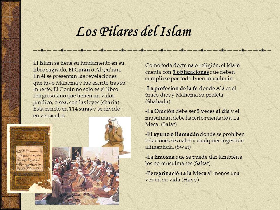 Los Pilares del Islam El Islam se tiene su fundamento en su libro sagrado, El Corán o Al Quran. En él se presentan las revelaciones que tuvo Mahoma y