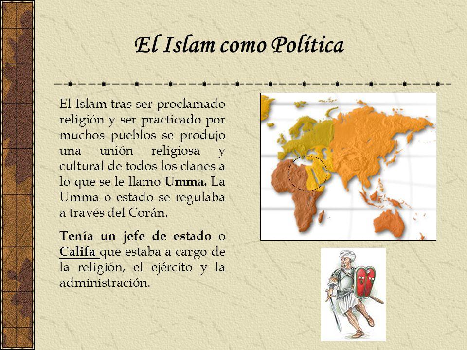 El Islam como Política El Islam tras ser proclamado religión y ser practicado por muchos pueblos se produjo una unión religiosa y cultural de todos lo