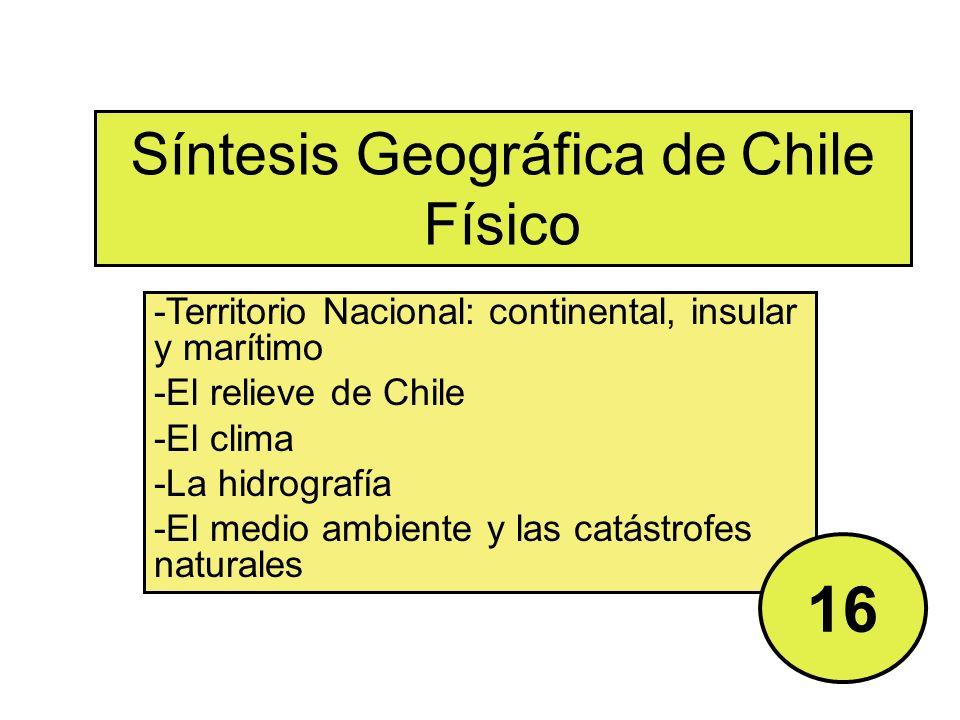 Síntesis Geográfica de Chile Físico -Territorio Nacional: continental, insular y marítimo -El relieve de Chile -El clima -La hidrografía -El medio ambiente y las catástrofes naturales 16