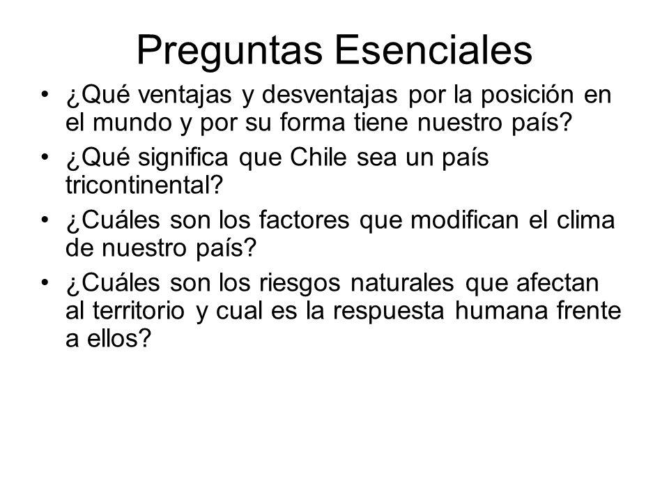Preguntas Esenciales ¿Qué ventajas y desventajas por la posición en el mundo y por su forma tiene nuestro país? ¿Qué significa que Chile sea un país t