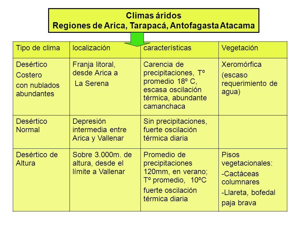 Climas áridos Regiones de Arica, Tarapacá, Antofagasta Atacama Tipo de climalocalizacióncaracterísticasVegetación Desértico Costero con nublados abundantes Franja litoral, desde Arica a La Serena Carencia de precipitaciones, Tº promedio 18º C, escasa oscilación térmica, abundante camanchaca Xeromórfica (escaso requerimiento de agua) Desértico Normal Depresión intermedia entre Arica y Vallenar Sin precipitaciones, fuerte oscilación térmica diaria Desértico de Altura Sobre 3.000m.