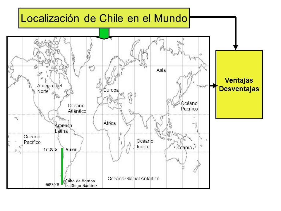 Localización de Chile en el Mundo Océano Pacífico Océano Atlántico Océano Indico Océano Pacífico Océano Glacial Antártico Asia Europa África Oceanía América del Norte América Latina Ventajas Desventajas Cabo de Hornos Is.