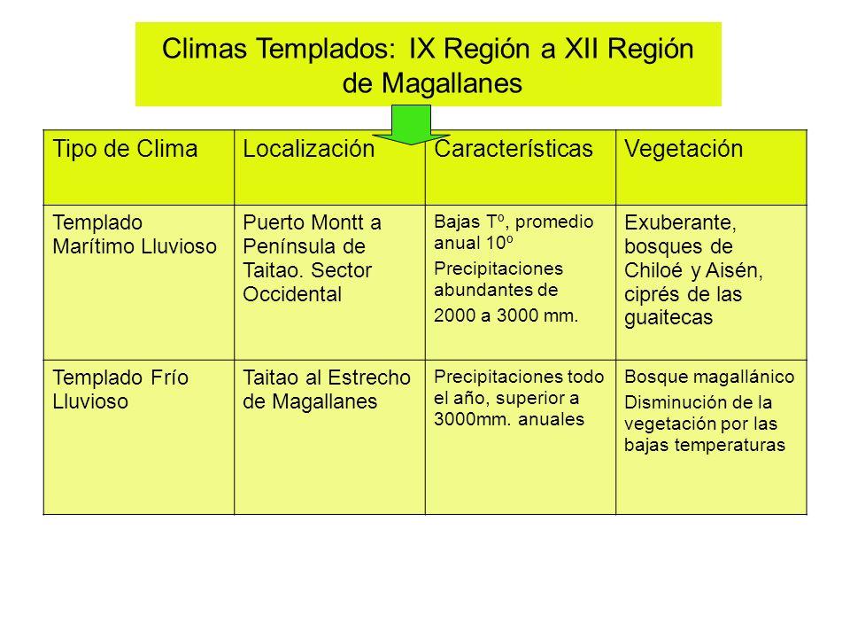 Climas Templados: IX Región a XII Región de Magallanes Tipo de ClimaLocalizaciónCaracterísticasVegetación Templado Marítimo Lluvioso Puerto Montt a Pe