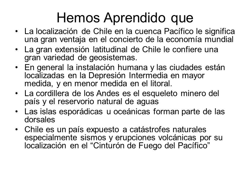 Hemos Aprendido que La localización de Chile en la cuenca Pacífico le significa una gran ventaja en el concierto de la economía mundial La gran extensión latitudinal de Chile le confiere una gran variedad de geosistemas.