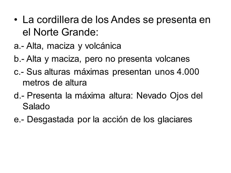 La cordillera de los Andes se presenta en el Norte Grande: a.- Alta, maciza y volcánica b.- Alta y maciza, pero no presenta volcanes c.- Sus alturas m
