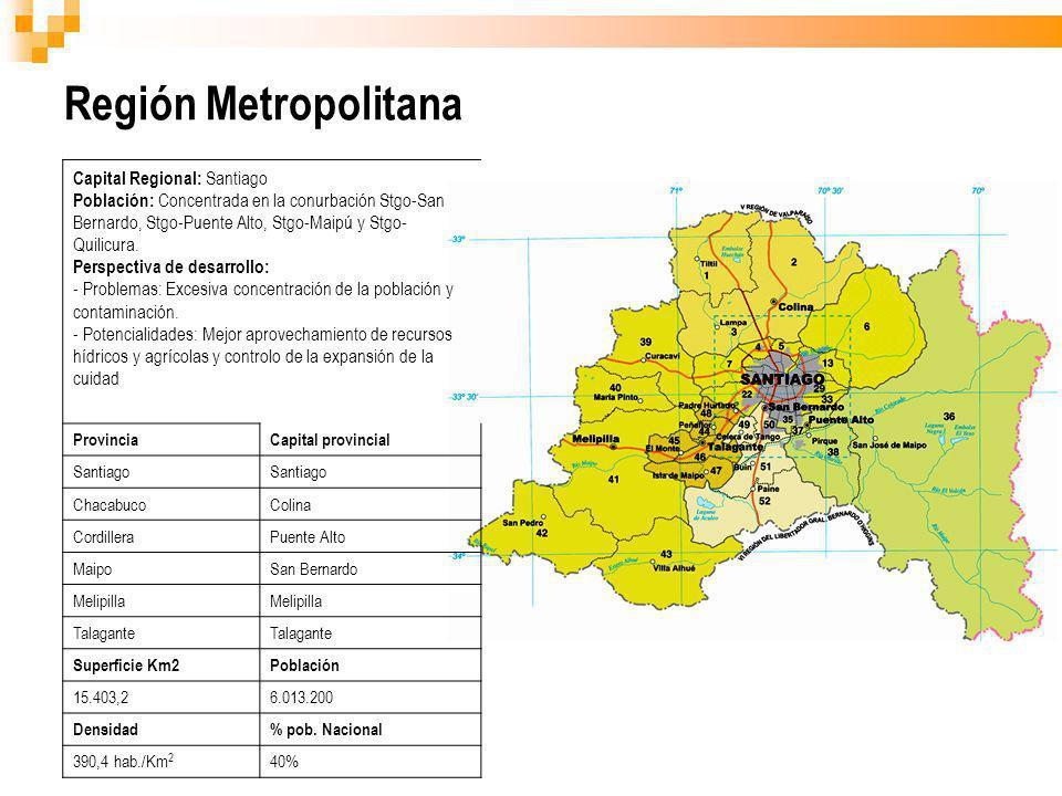 Región Metropolitana Capital Regional: Santiago Población: Concentrada en la conurbación Stgo-San Bernardo, Stgo-Puente Alto, Stgo-Maipú y Stgo- Quili