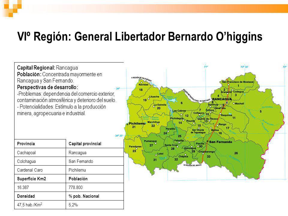 VIº Región: General Libertador Bernardo Ohiggins Capital Regional: Rancagua Población: Concentrada mayormente en Rancagua y San Fernando. Perspectivas