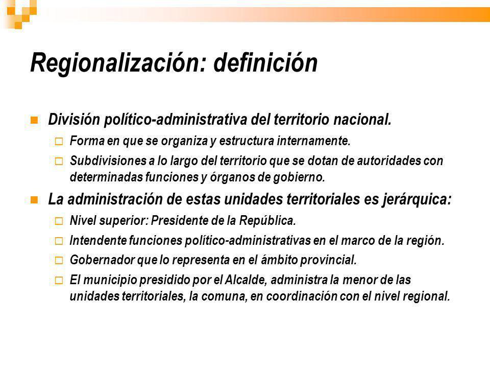 Regionalización: definición División político-administrativa del territorio nacional. Forma en que se organiza y estructura internamente. Subdivisione