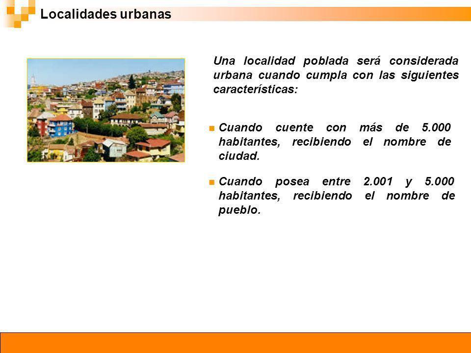 Localidades urbanas Una localidad poblada será considerada urbana cuando cumpla con las siguientes características: Cuando cuente con más de 5.000 hab