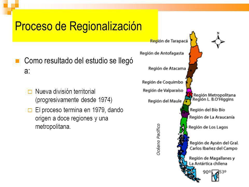 Proceso de Regionalización Como resultado del estudio se llegó a: Nueva división territorial (progresivamente desde 1974) El proceso termina en 1979,
