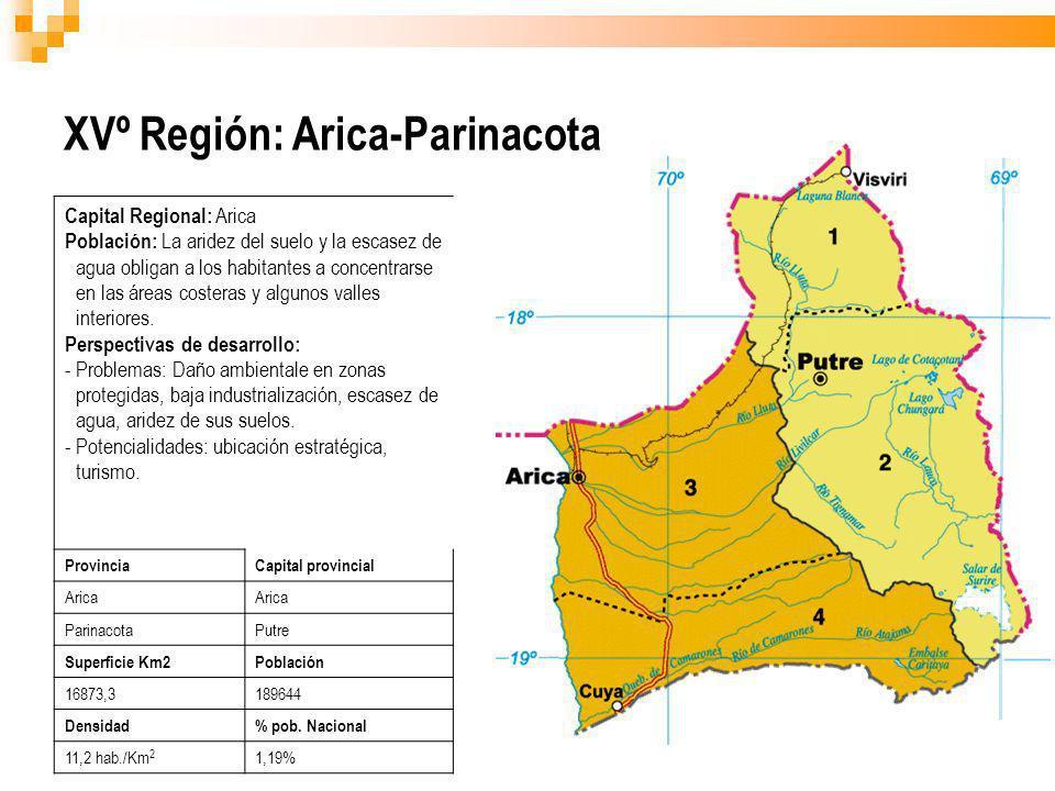 XVº Región: Arica-Parinacota Capital Regional: Arica Población: La aridez del suelo y la escasez de agua obligan a los habitantes a concentrarse en la