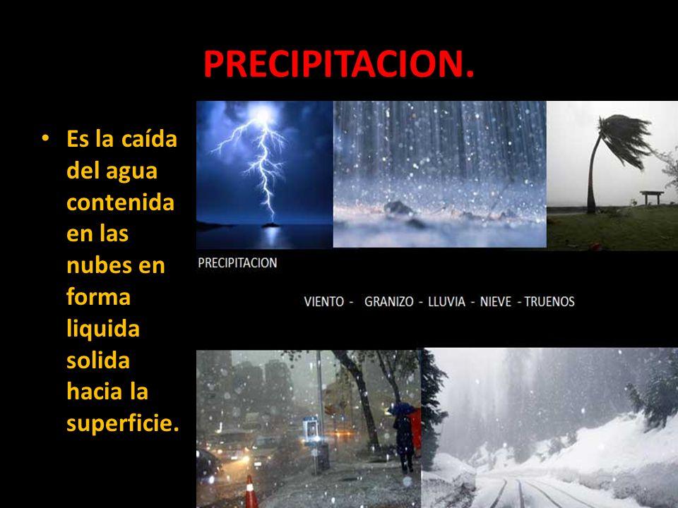 PRECIPITACION. Es la caída del agua contenida en las nubes en forma liquida solida hacia la superficie.