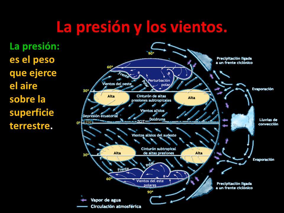 La presión y los vientos. La presión: es el peso que ejerce el aire sobre la superficie terrestre.