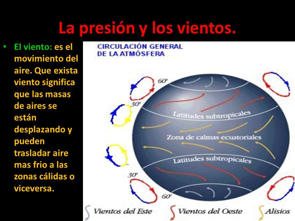 La presión y los vientos. El viento: es el movimiento del aire. Que exista viento significa que las masas de aires se están desplazando y pueden trasl