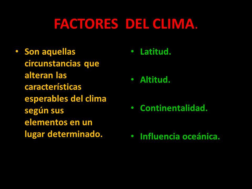 FACTORES DEL CLIMA. Son aquellas circunstancias que alteran las características esperables del clima según sus elementos en un lugar determinado. Lati