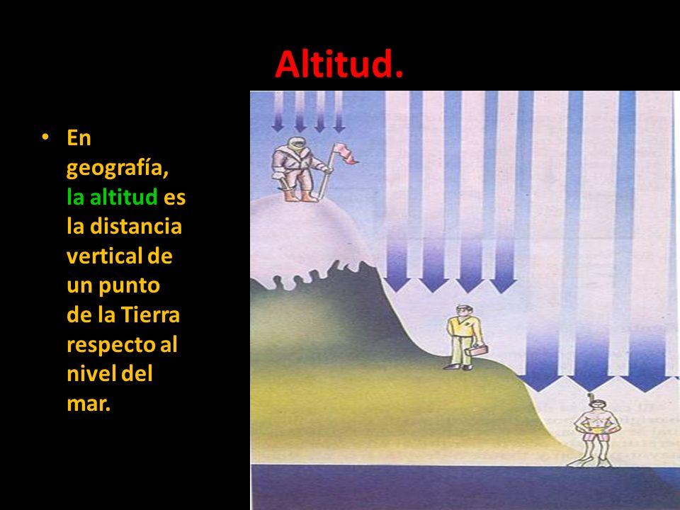 Altitud. En geografía, la altitud es la distancia vertical de un punto de la Tierra respecto al nivel del mar.