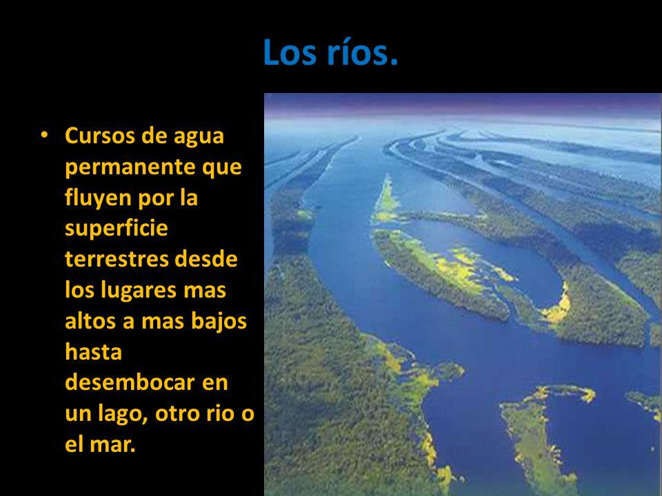 Los ríos. Cursos de agua permanente que fluyen por la superficie terrestres desde los lugares mas altos a mas bajos hasta desembocar en un lago, otro