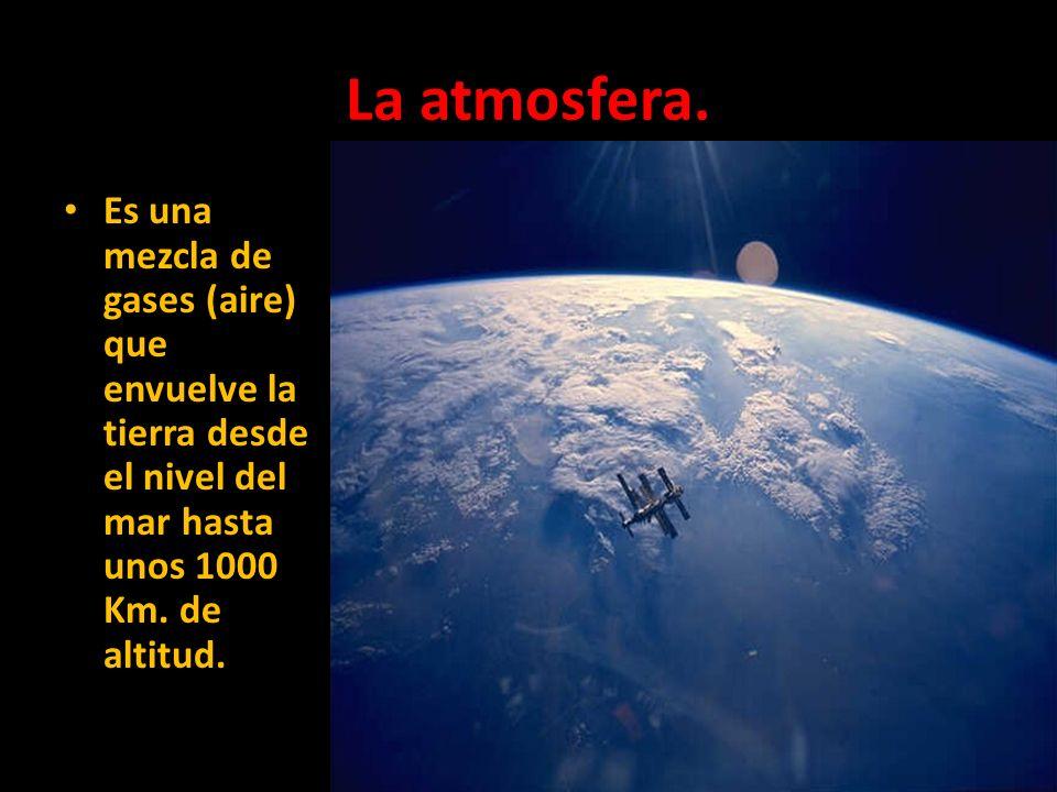 La atmosfera. Es una mezcla de gases (aire) que envuelve la tierra desde el nivel del mar hasta unos 1000 Km. de altitud.