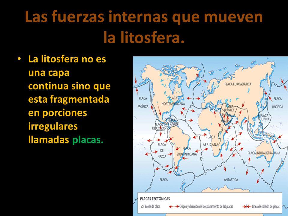 Las fuerzas internas que mueven la litosfera. La litosfera no es una capa continua sino que esta fragmentada en porciones irregulares llamadas placas.