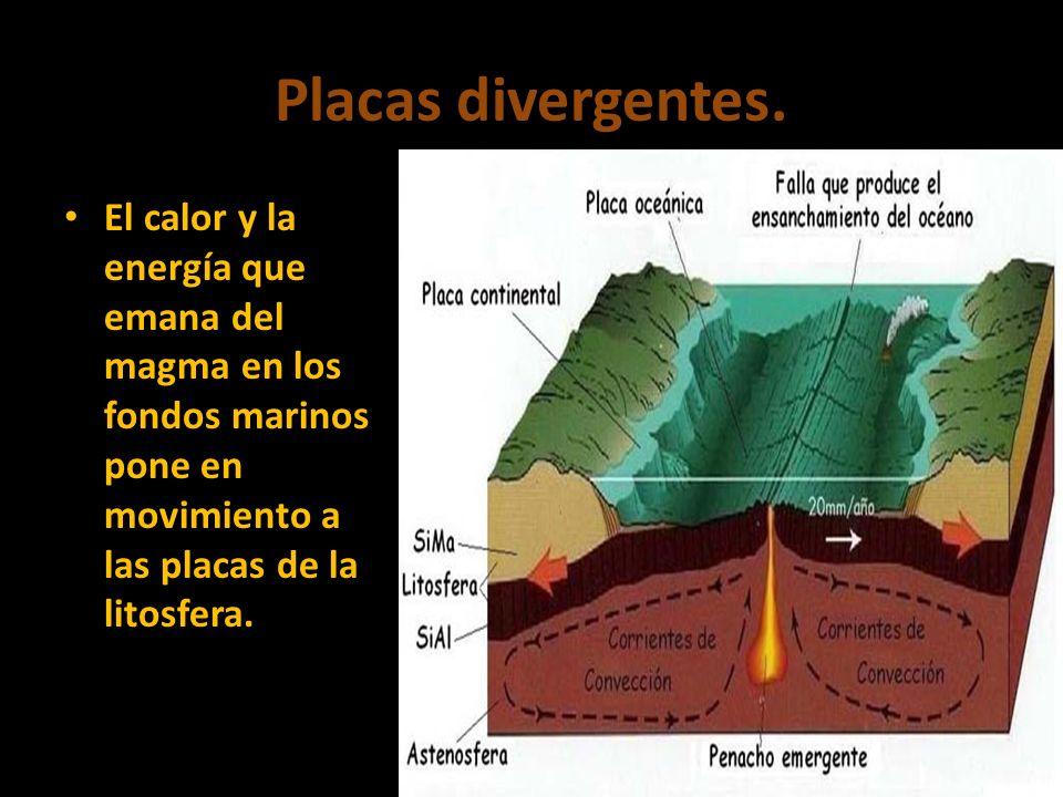 Placas divergentes. El calor y la energía que emana del magma en los fondos marinos pone en movimiento a las placas de la litosfera.