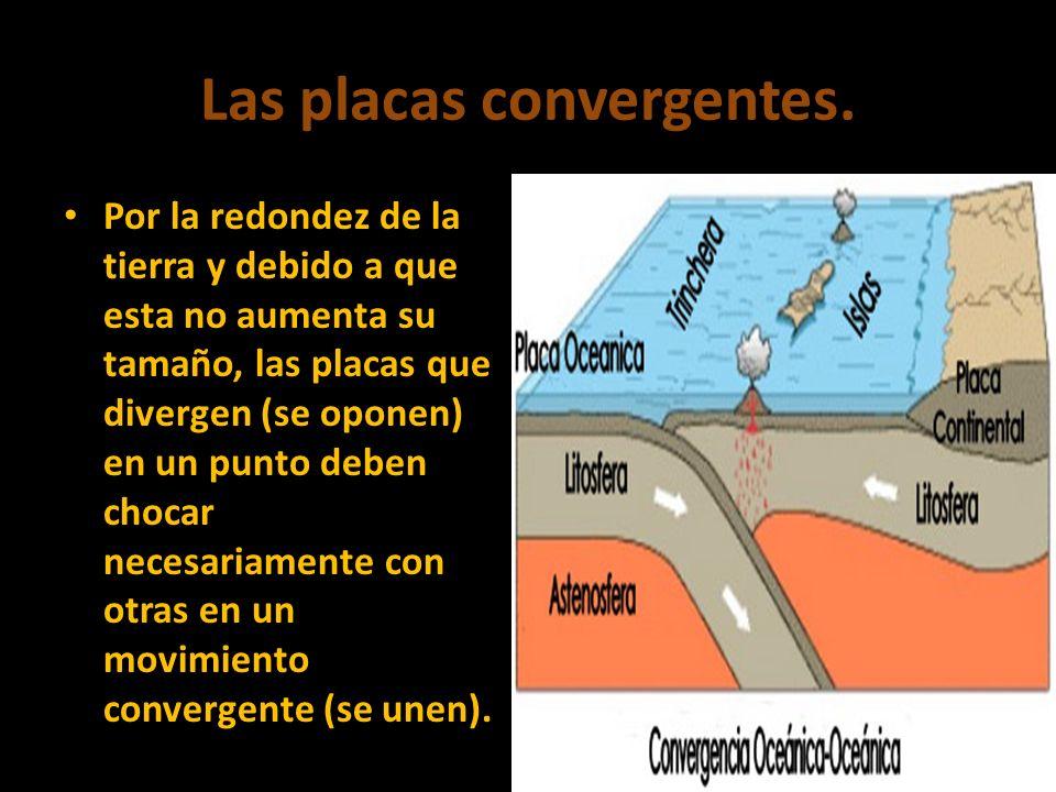Las placas convergentes. Por la redondez de la tierra y debido a que esta no aumenta su tamaño, las placas que divergen (se oponen) en un punto deben