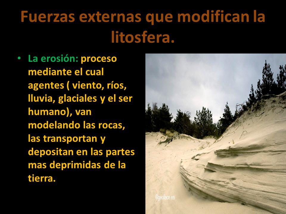 Fuerzas externas que modifican la litosfera. La erosión: proceso mediante el cual agentes ( viento, ríos, lluvia, glaciales y el ser humano), van mode