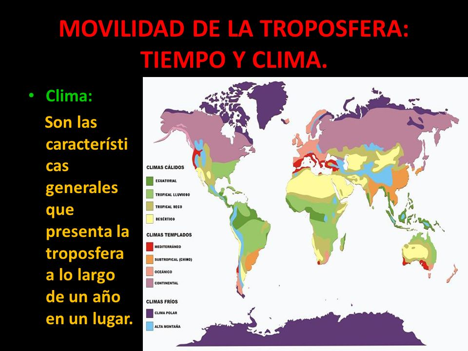 MOVILIDAD DE LA TROPOSFERA: TIEMPO Y CLIMA. Clima: Son las característi cas generales que presenta la troposfera a lo largo de un año en un lugar.