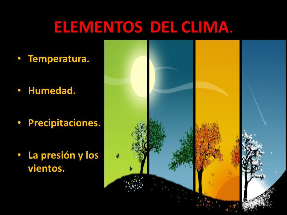 ELEMENTOS DEL CLIMA. Temperatura. Humedad. Precipitaciones. La presión y los vientos.