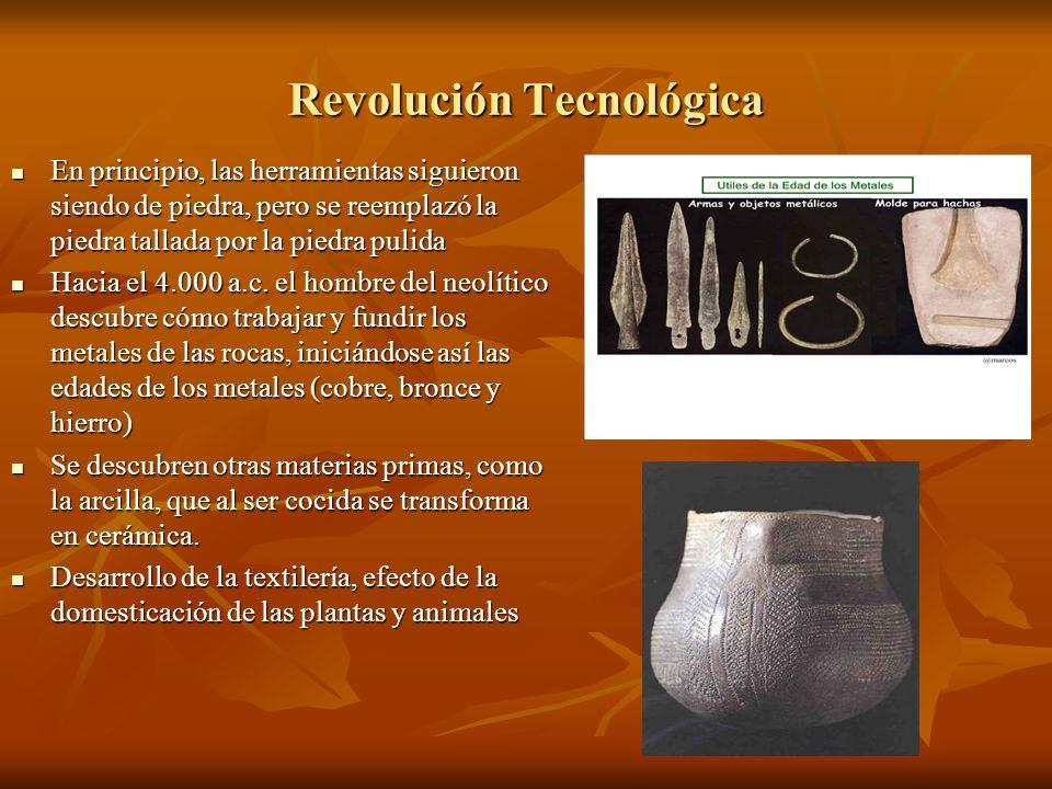 Revolución Tecnológica En principio, las herramientas siguieron siendo de piedra, pero se reemplazó la piedra tallada por la piedra pulida En principi