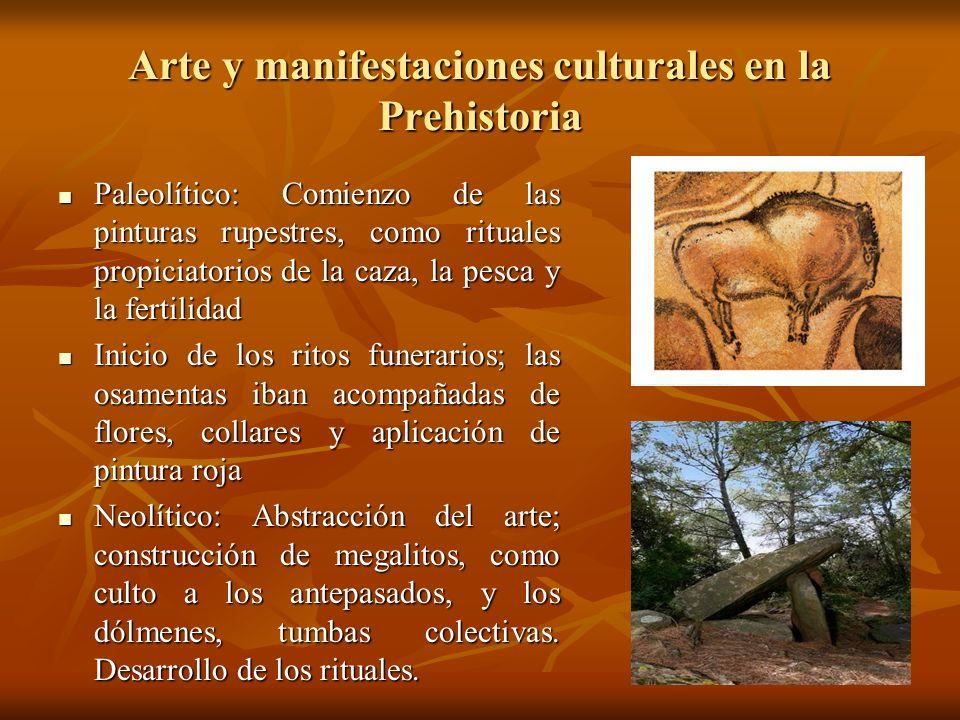 Arte y manifestaciones culturales en la Prehistoria Paleolítico: Comienzo de las pinturas rupestres, como rituales propiciatorios de la caza, la pesca
