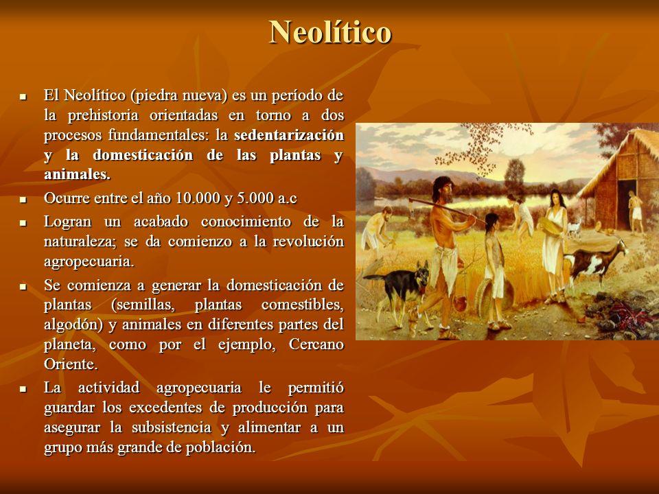Neolítico El Neolítico (piedra nueva) es un período de la prehistoria orientadas en torno a dos procesos fundamentales: la sedentarización y la domest