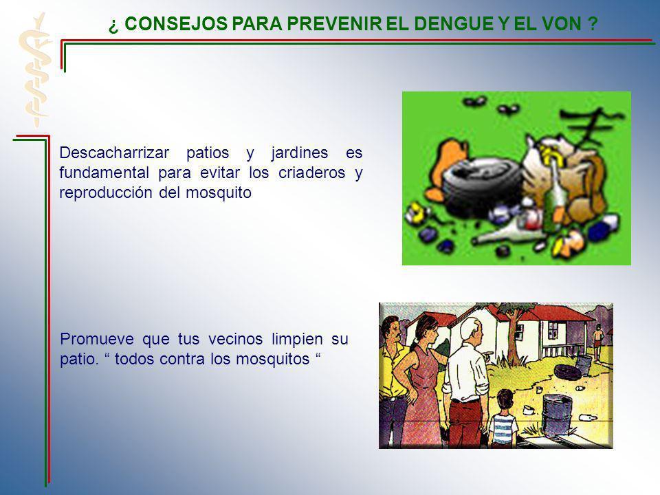 Descacharrizar patios y jardines es fundamental para evitar los criaderos y reproducción del mosquito Promueve que tus vecinos limpien su patio. todos