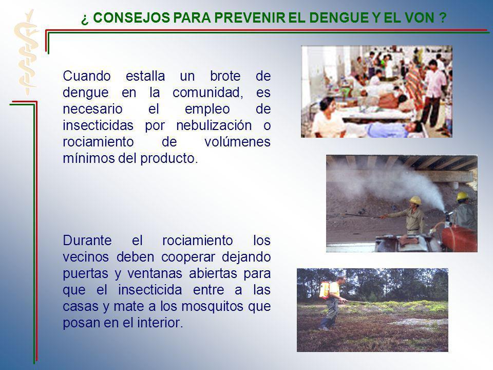 Cuando estalla un brote de dengue en la comunidad, es necesario el empleo de insecticidas por nebulización o rociamiento de volúmenes mínimos del prod