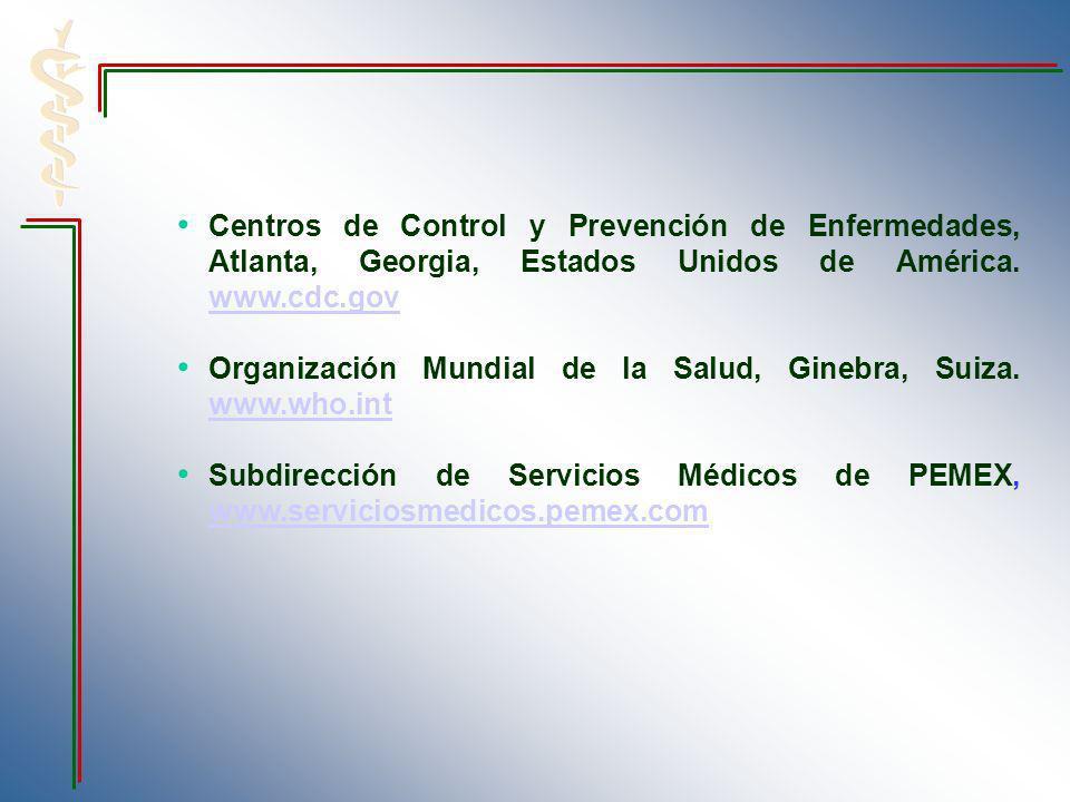 Centros de Control y Prevención de Enfermedades, Atlanta, Georgia, Estados Unidos de América. www.cdc.gov www.cdc.gov Organización Mundial de la Salud