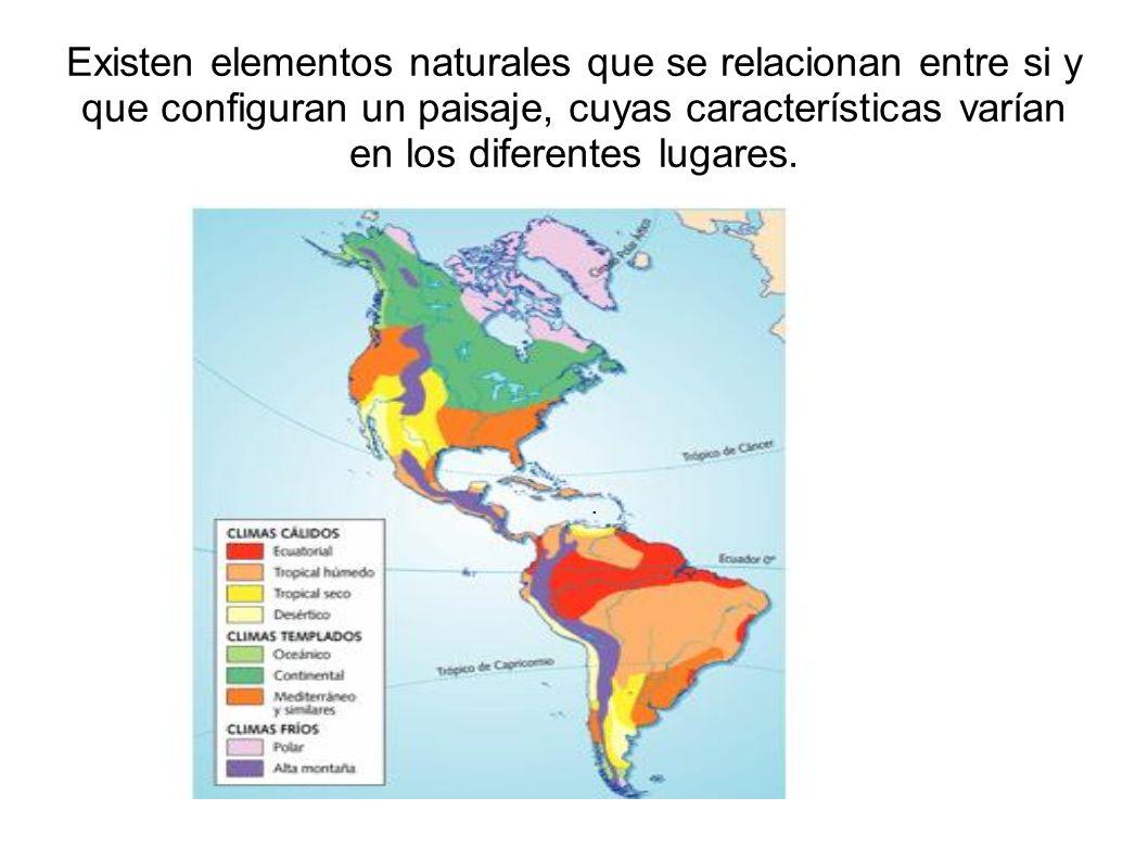 Existen elementos naturales que se relacionan entre si y que configuran un paisaje, cuyas características varían en los diferentes lugares..