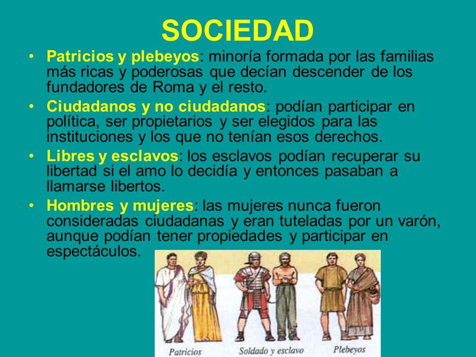 SOCIEDAD Patricios y plebeyos: minoría formada por las familias más ricas y poderosas que decían descender de los fundadores de Roma y el resto. Ciuda