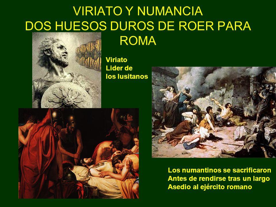 VIRIATO Y NUMANCIA DOS HUESOS DUROS DE ROER PARA ROMA Viriato Lider de los lusitanos Los numantinos se sacrificaron Antes de rendirse tras un largo As