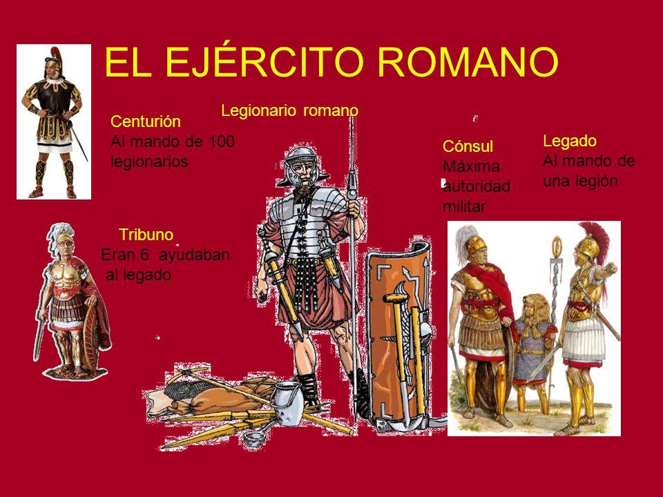 EL EJÉRCITO ROMANO Cónsul Máxima autoridad militar Legado Al mando de una legión Tribuno Eran 6 ayudaban al legado Legionario romano Centurión Al mand