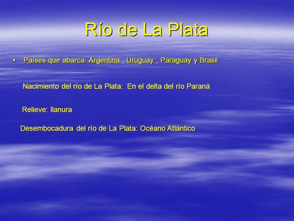 Río de La Plata Países que abarca: Argentina, Uruguay, Paraguay y Brasil Países que abarca: Argentina, Uruguay, Paraguay y Brasil Nacimiento del río d
